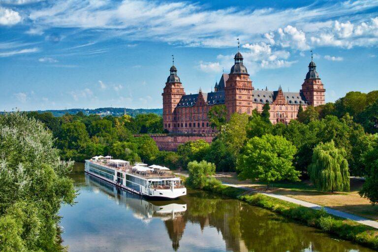 The Viking Longship Lif on the River Main near the Schloss Johannisburg, city of Aschaffenburg, Bavaria, Germany.